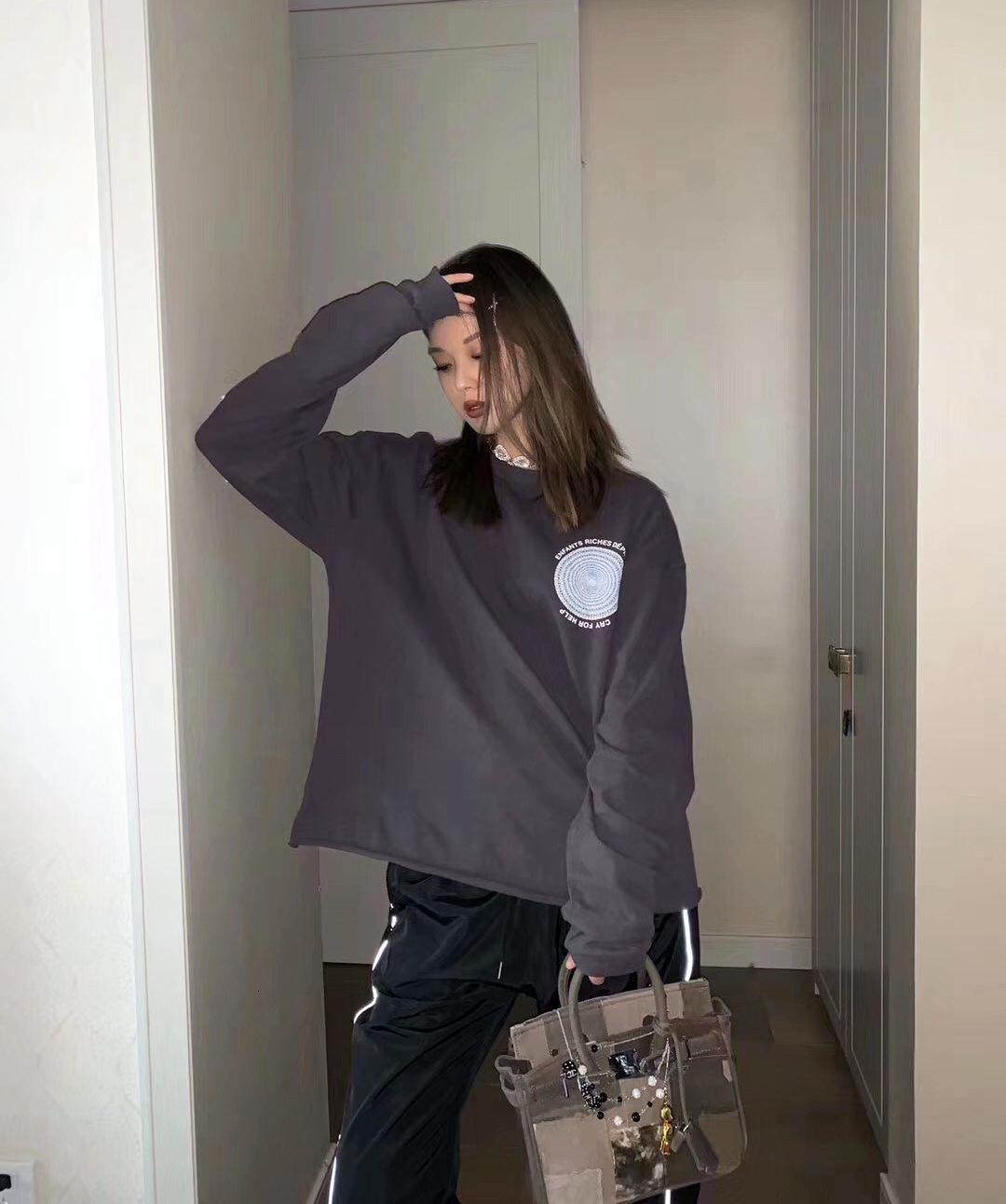 High Street Erd Melancholy богатая второго поколения Диск полное печатное наложение свободно мужская и женская футболка с длинным рукавом