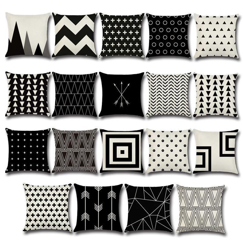 NUOVO DESIGN DI NATALE GEOMETRIA GEOMETRIA CUSCINI COVERSA Biancheria di cotone Cover Nero per divano letto Nordic Pillow Case Almofadas 45x45cm