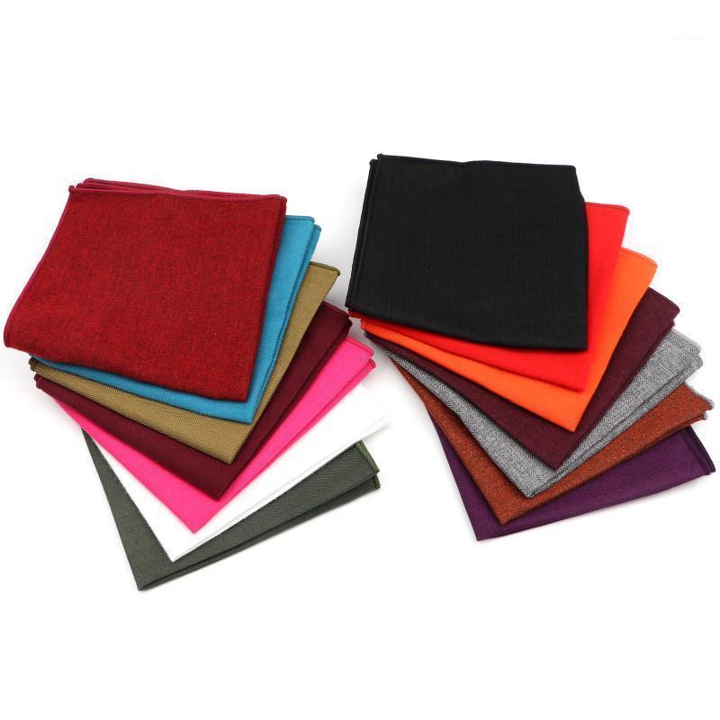 Nouvelle Arrivée Couleur Solide Couleur Hankerchief Écharpes Vintage Coton Soft Coton Hankies Hommes Poche Square Houchiroires Nice Accessoires cadeaux1
