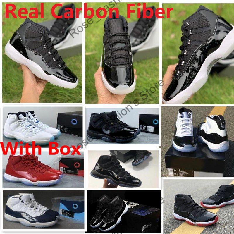 Gerçek Karbon Fiber 11 Jubilee 25th Yıldönümü ile OG Kutusu Basketbol Sneakers Ile Bred 11s Spor Red Concords 72-10 Balo Gece Yüksek Erkekler Ayakkabı