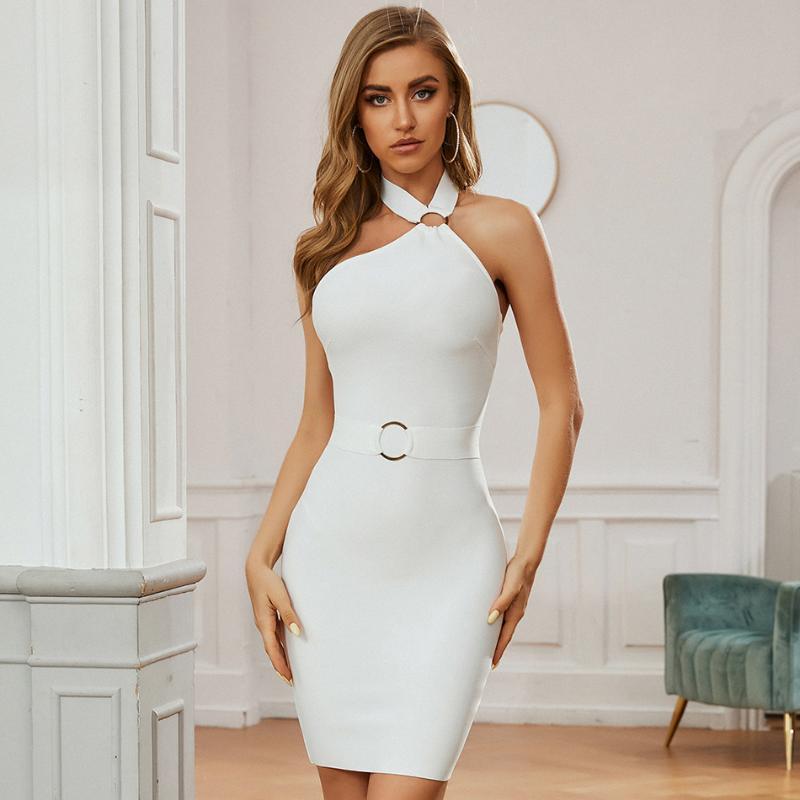 Adyce 2020 Neue Winter Frauen Weiße Halfter Club Bodycon Bandage Kleid Sexy Sleeveless Mini Celebrity Abend Runway Party Kleider