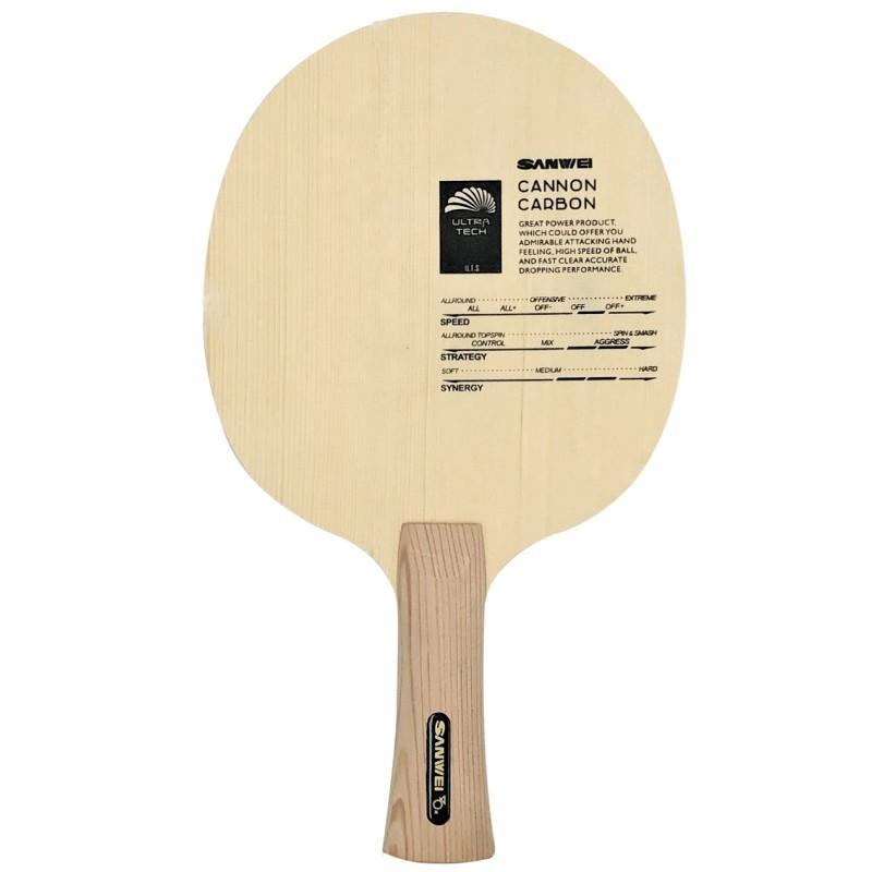 Lâmina de tênis de tênis de mesa de carbono de canhão de Sanwei com superfície de hinoki grossa e 5,0 mm kiri núcleo rápido loop ping pong raquete z1120