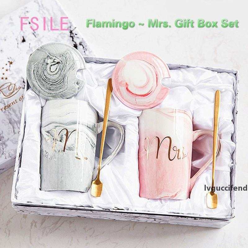 FSILE Marble Pattern Gold Rim Mug Gift Box Set Coffee Couple Women Flamingo Cup Ceramic with Hand Ceremony T200506