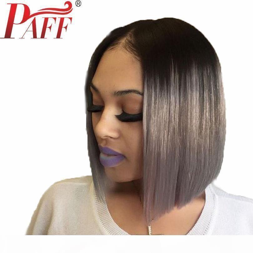 Paff ombre graue spitze vorne menschliche haarperücke mit schwarzen wurzeln 150 dichte spitze frontal kurze bob cut 13 * 3 wig brasilianische remy haare