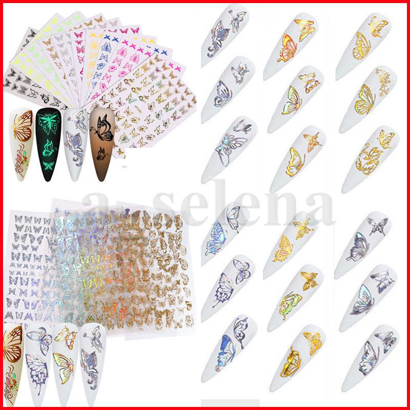 Borboleta 3D Nail Art Adesivos Sliders Auto-adesivos Sliders Deixar Decalques Decalques Folhas Decorações Decorações DIY Manicure Acessórios