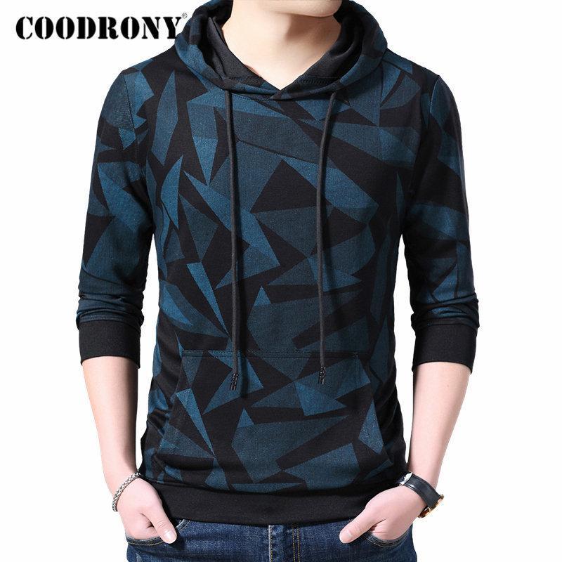 Coodrony Marca Mens Mens Hoodies Streetwear Moda Padrão Pullover Hoodie Homens Outono Inverno Casual Moletom Com Capuz Homens Tops 94008 Y1121