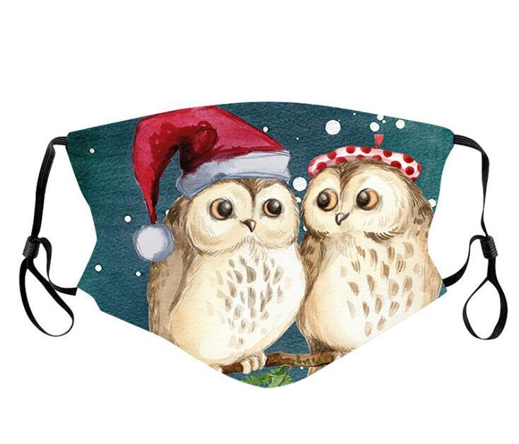 Рождественская сова печати лица маски моющиеся ветрозащитные защитные многоразовые милые рот регулируемые теплые хлопчатобумажные маски для лица по DHL