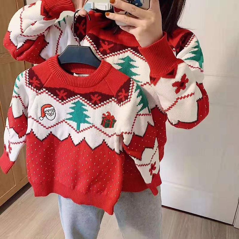 Família olhar mãe filha pullover blusas natal ano novo algodão camisola família combinando roupas mãe e eu roupas y1215