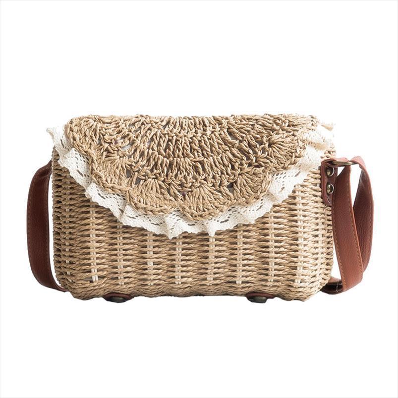 Sacos Mulheres Lace palha INS populares Feminino férias Handbag Verão Lady Hot Weave Shoulder Bag Beach Viajar Casual Bolsa SS3150