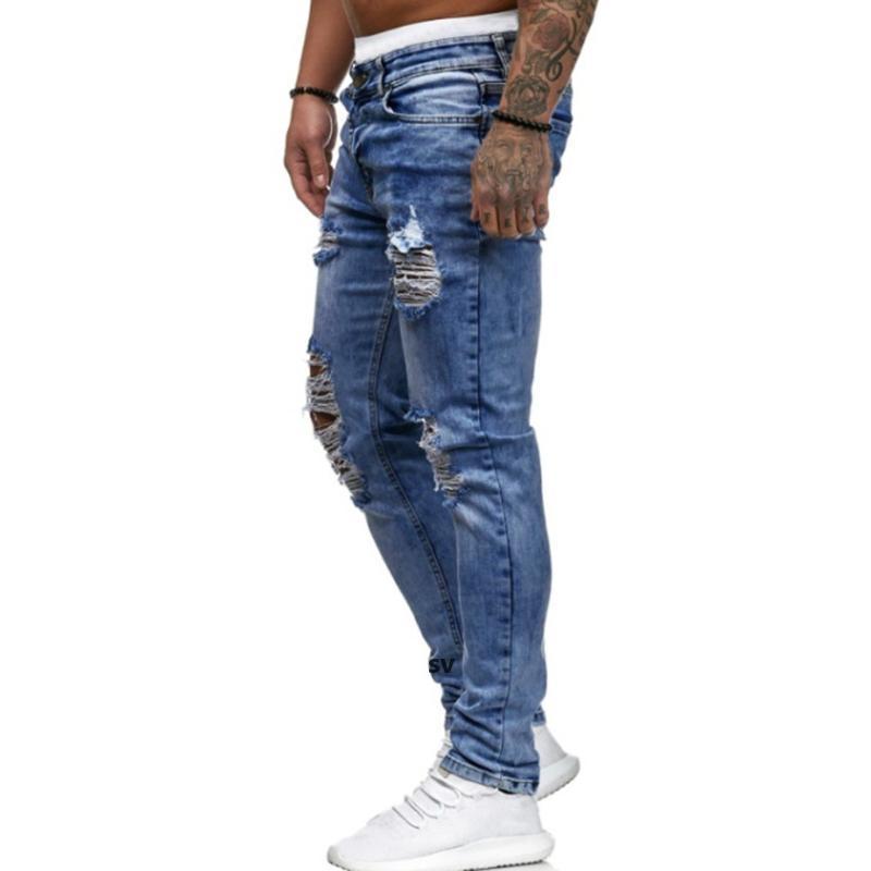 Jeans Rompe para hombre para hombres Casual Black Black Azul Slim Slim Fit Denim Pants Biker Hip Hop Jeans con Pantalones Denim de Holel Sexy I I