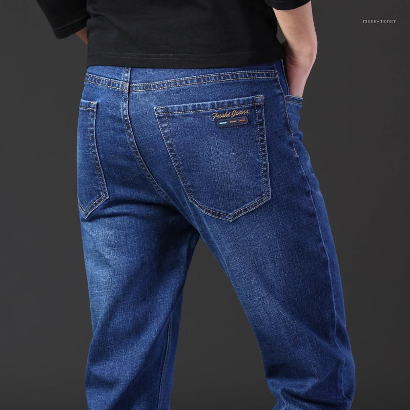 Erkek Kot Klasik Stil Erkekler Normal Fit Mavi Sonbahar 2021 Iş Moda Pamuk Streç Kot Pantolon Erkek Marka Pantolon1