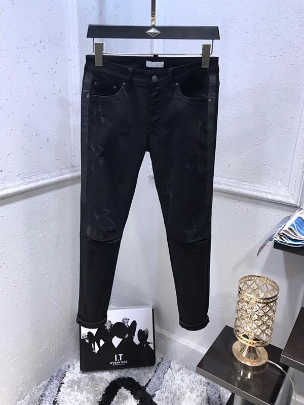 جديد نمط الجينز العلامة التجارية الشهيرة رجل غسلها تصميم عارضة ضئيلة الصيف خفيفة الوزن الدنيم تمتد الدنيم نحيل جينز السراويل برشام هول تصميم
