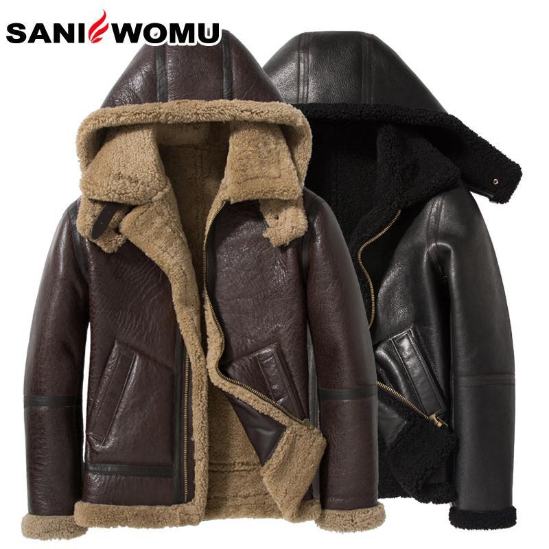 Sani Sheewskin меховой шерсть мужская короткая теплая пальто с капюшоном меховой воротник с капюшоном из натуральной кожи меховой куртку LJ201029