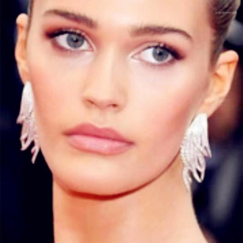 New Arrival Rhinestone Alloy Feather Shaped Dangle Earrings For Women Fashion Jewelry Boutique Statement Earrings Accessories1