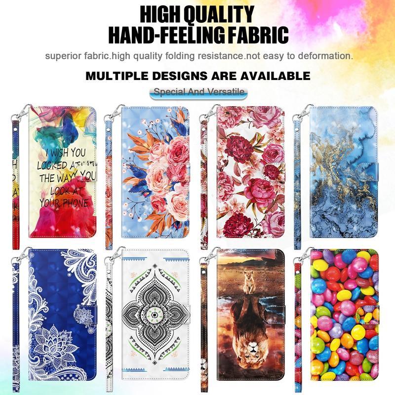 Funda de billetera de cuero 3D para Samsung S21 PLUS S21 Ultra F41 M31 A42 5G M51 LG K52 Flor de encaje abstracto Frijoles de león Tarjeta de identificación de la tarjeta Flip Cover