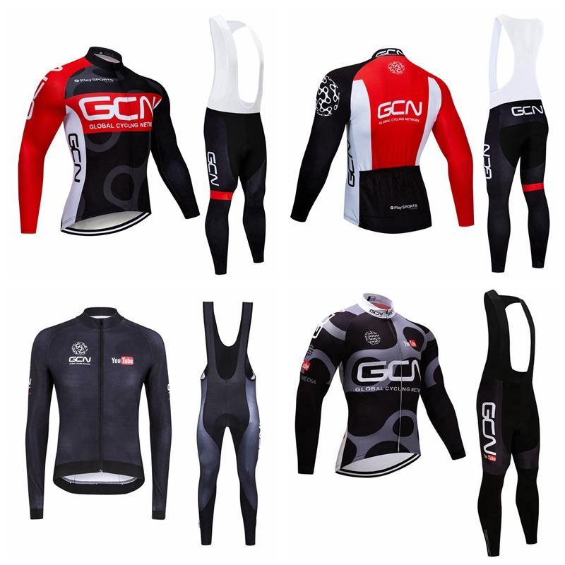 GCN 팀 프로 사이클 긴 소매 유니폼 턱받이 바지 세트 MTB 자전거 의류 Ropa Ciclismo Mens 사이클링 착용 자전거 의류 102616