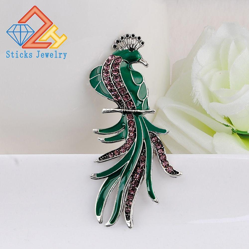 Retrô verde grande pavão broche broches vintage jóias casamento broche buquê corsages antique ouro hijab pin