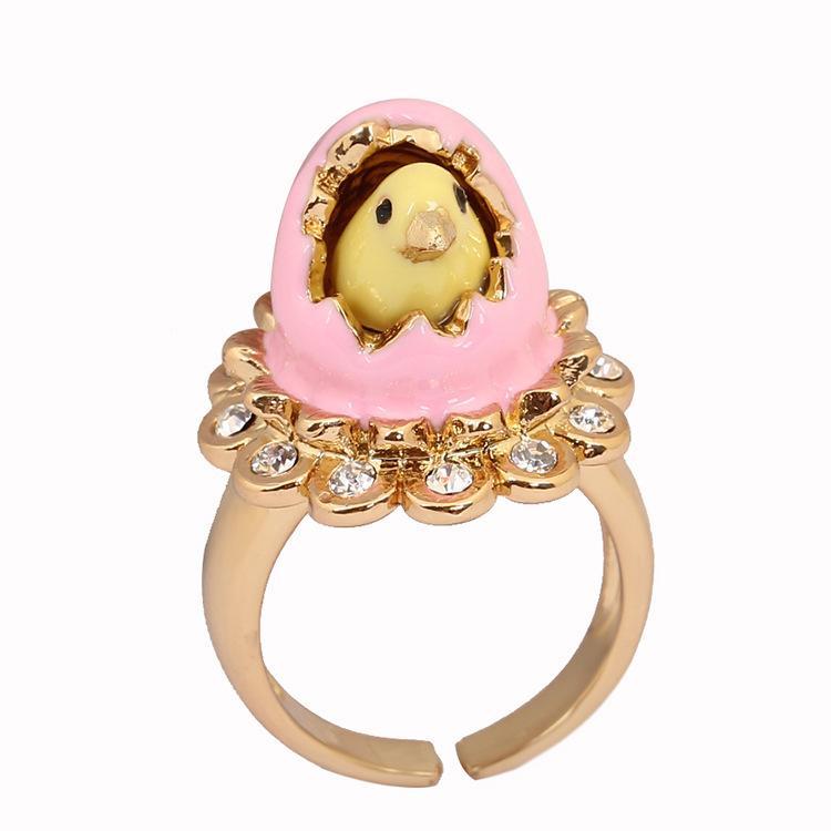 Nova galinha de galinha de ovo pintado à mão esmalte dourada incrustado diamante ajustável personalidade tendência anel feminino