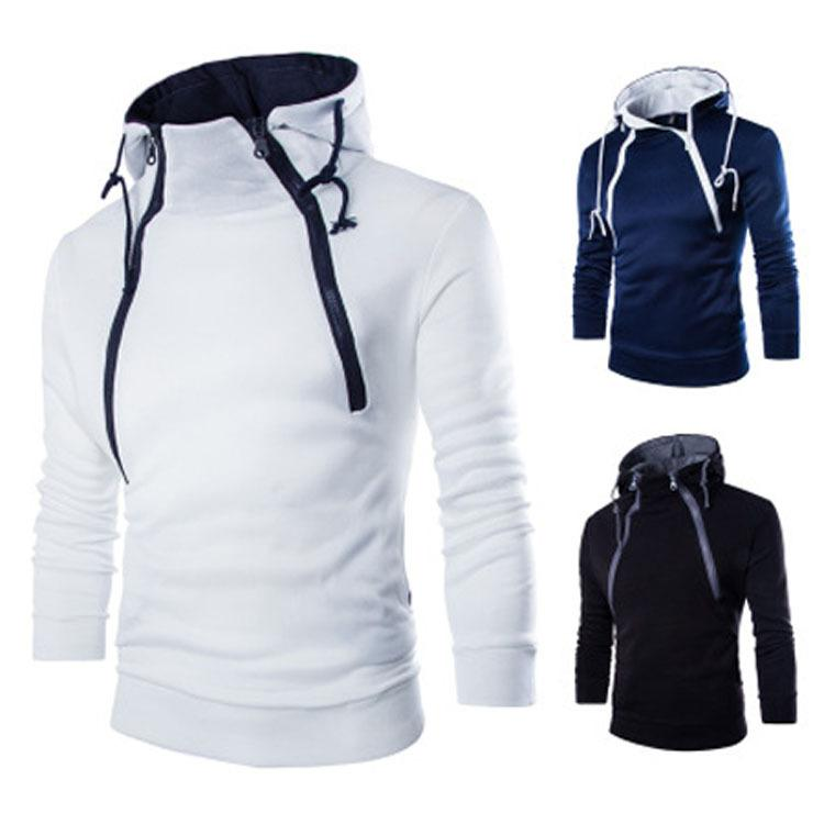 Hombre doble cremallera sudaderas soporte collar cordón pullover sudaderas homme larga manga deportiva Sudaderas con capucha
