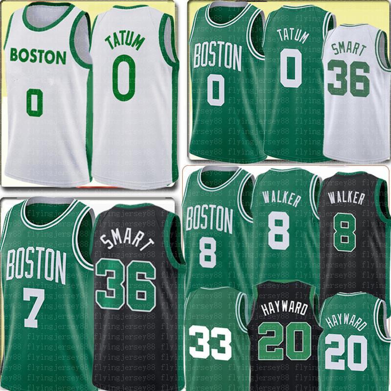 جديد Jayson 0 Tatum Jersey Jaylen 7 Brown Marcus 36 Smart Kemba 8 Walker Jersey 33 Gordon 20 Hayward كرة السلة الفانيلة