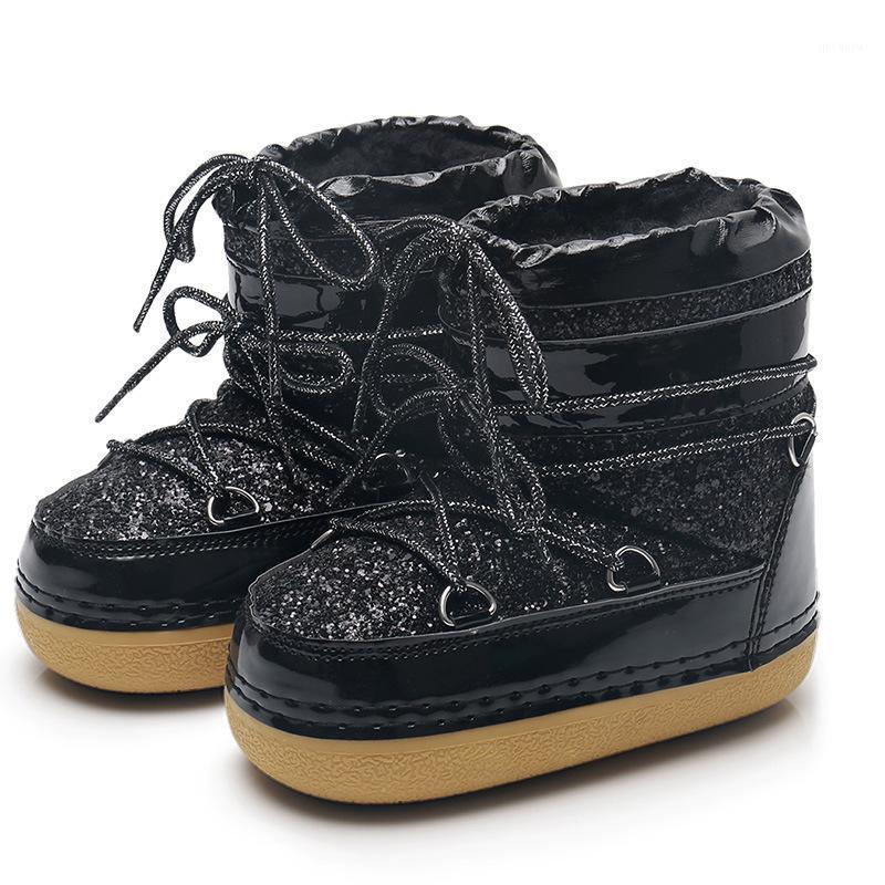 NUEVA BOTAS DE NIÑOS DE INVIERNO Botas de cuero PU Botas de nieve para niños Piel Cálido Medio-becerro Moda Zapatos de lentejuelas de algodón bebé Rubber1