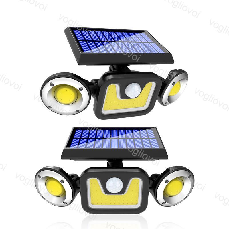 Güneş Güvenliği Aydınlatma Hareket Sensörü Üç Kafa 70LED 78LED 83Cob Açık Bahçe Wall Street DHL için Su Geçirmez