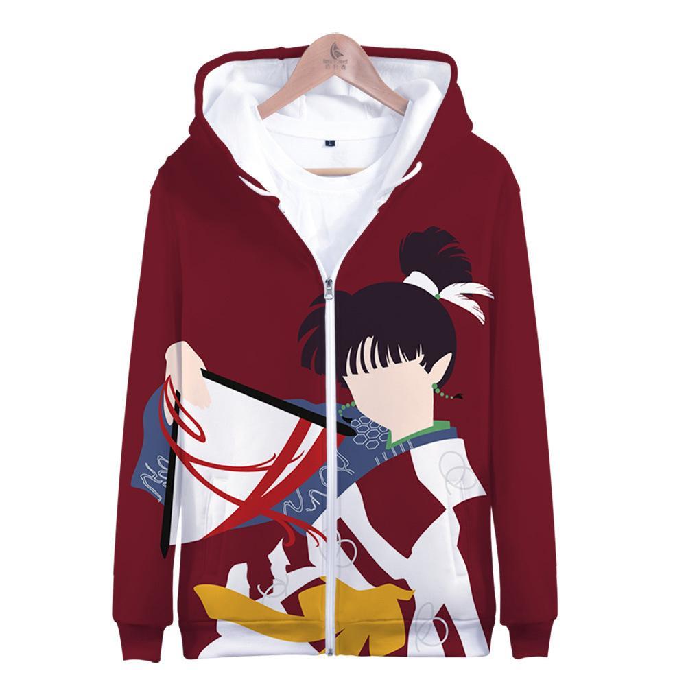 Inuyasha Anime Cappotti invernali Giappone Mens Inu Yasha Giacche e Felpa con cappuccio 3D Felpe con cappuccio con cappuccio Felpa Outwear Costume Cosplay