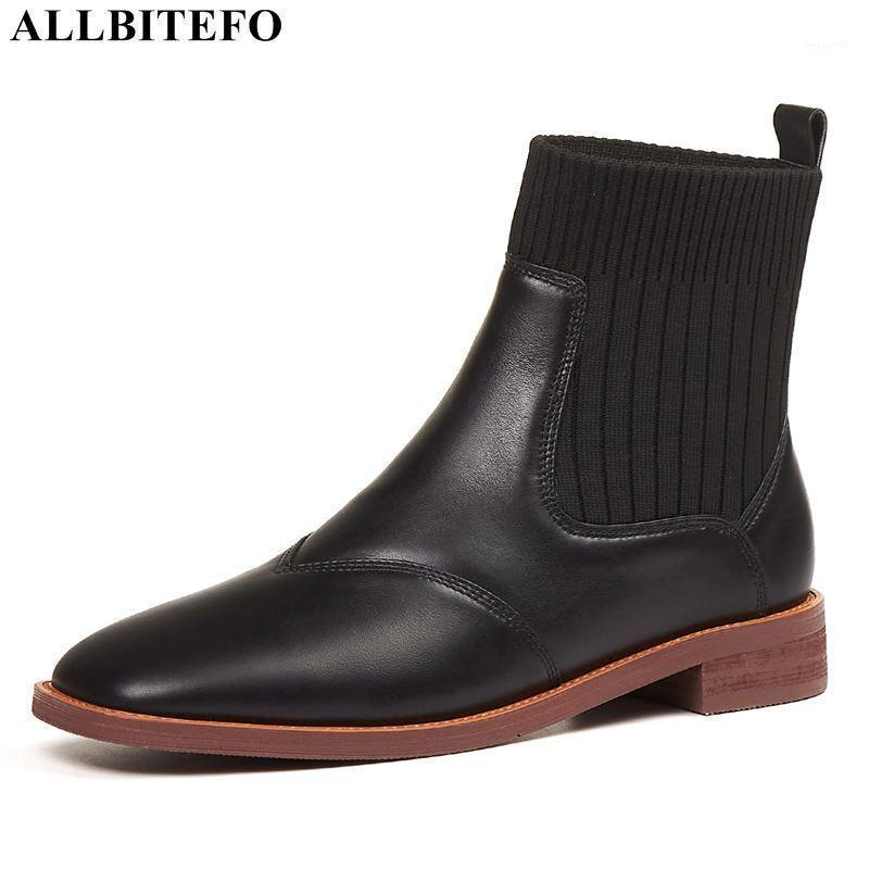 ALLBITEFO Stone texture natural genuine leather women boots autumn fashion women high heel shoes motocycle boots ankle1