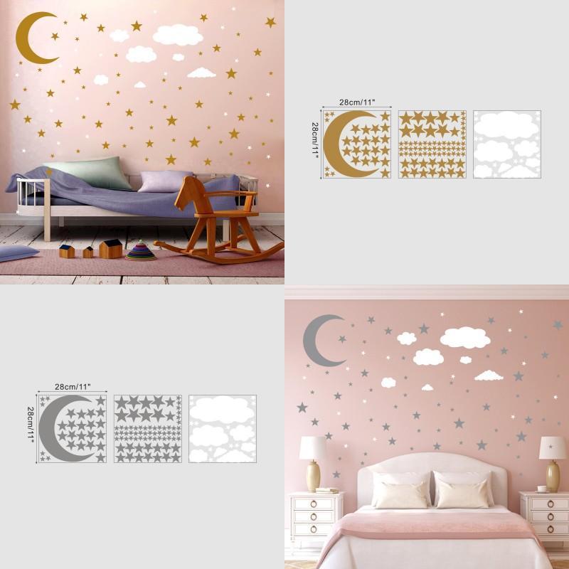 3pcs Adesivi murali per Set Stelle Moon Cloud Fai da te Placcato Gold Argento Bambini Art Walls Decorazione Cucina 6YM K2