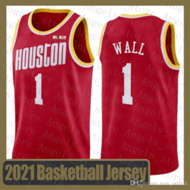 John 1 Wall HoustonRocket Dwayne Dwyane 3 Wade Devin 1 Booker 15 Jokic Joel 21 Embiid 2020 2021 New Basketball Jersey Rocket Red