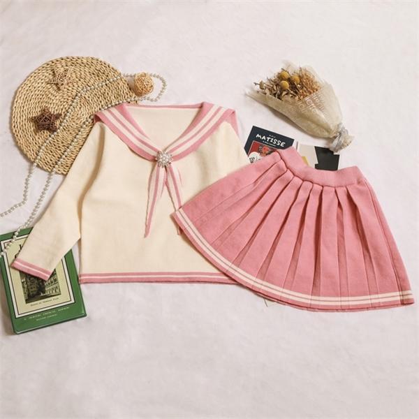 Gooporson Mode Fall Outfits Kinderkleidung für Mädchen Navy Stil Perle Strickpullover Topplastierter Rock Teenager Warme WäschetauschEx1019