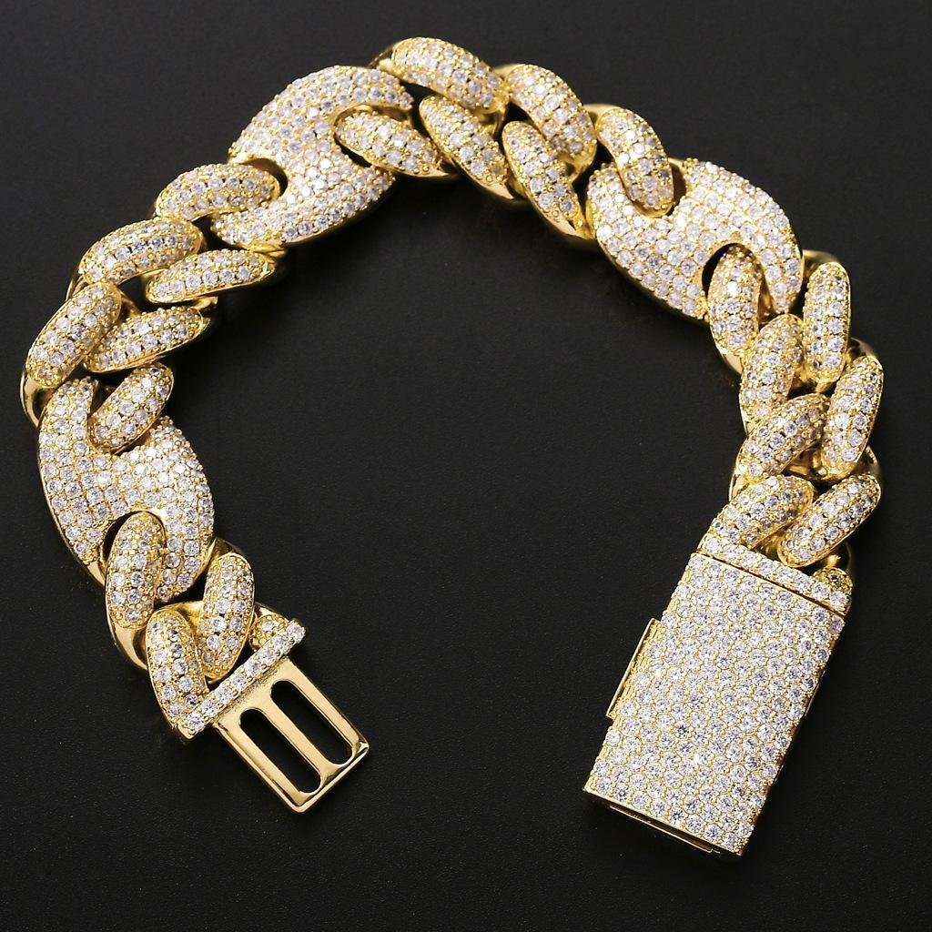20mm Hip Hop erkek Takı Miami Küba Link Zincir Bilezik Buzlu Kübik Zirkon Bling Altın Kahve Çekirdeği Zincir Bilezik Bileklik