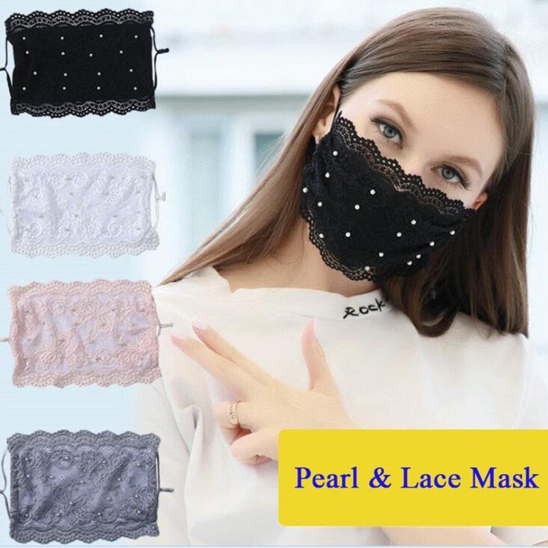 YANWEN RÁPIDO DE YANWEN! Máscaras designer Pearl Lace Face Máscara Ajustável Loop Anti-Poeira à prova de poeira Disabelável Máscara de seda de gelo reutilizável para adultos