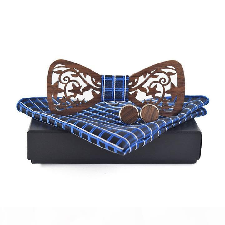 2020Копользовательский формальный бизнес древесина галстука бабочка короткими коробками набор для мужской полый деревянный бабочка DescoreReket квадратный набор