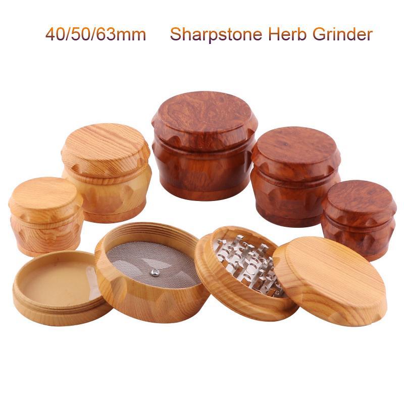 Orijinal Sharpstone Öğütücüler Reçine 4 Katmanlı 40/50 / 63mm Herb Tütün Öğütücü Bitkisel Baharat Kırıcı Sigara Makinesi Magnet Süzgeci
