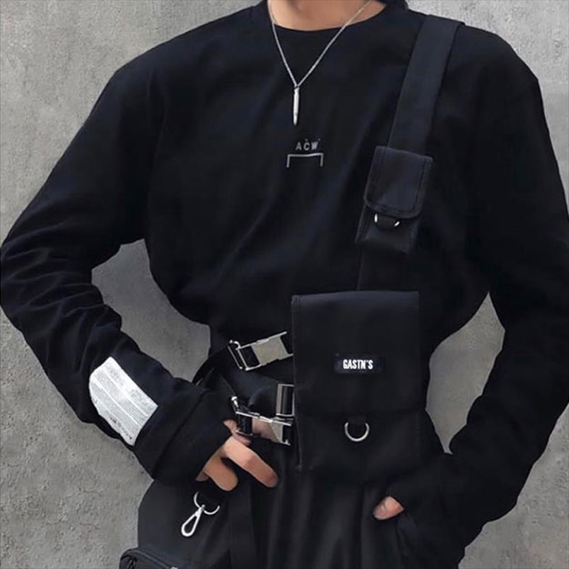Taktik Yelek Streetwear Bel Çantası Erkekler Için Hip Hop Göğüs Teçhizat Çanta Ayarlanabilir Çoklu Cepler Tuval Erkek Bel Paketi Göğüs Çantaları