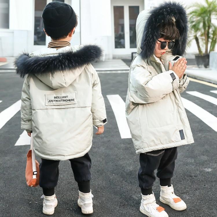 Vêtements de coton pour enfants 2020 hiver coréen Beaux garçons à capuche de gros collier de fourrure mode chaude coton vêtements long couette vêtements