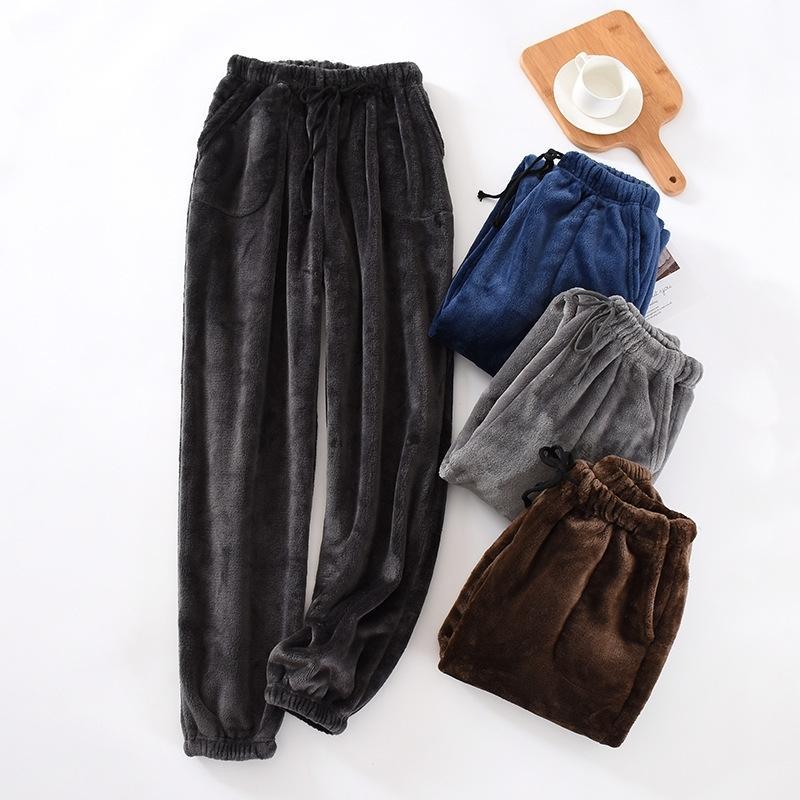 Японский стиль новые мужские брюки густые фланелевые теплые штаны осенью и зимой большой размер коралловый флис брюки пижамные штаны 201109