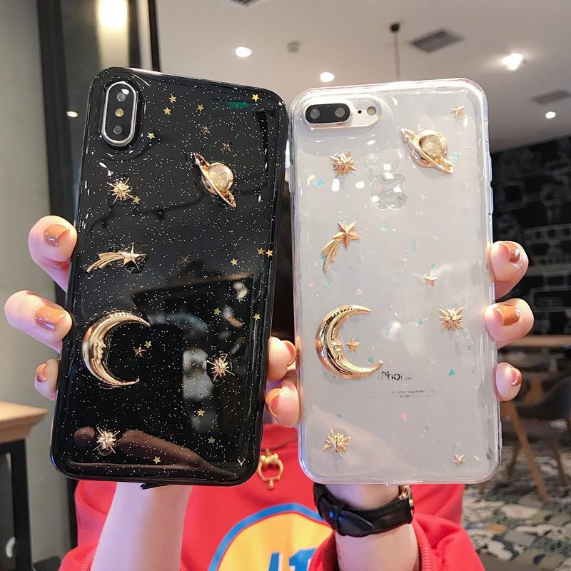 Diseñador Planet Moon Star Glitter Bling Soft TPU Gel Borrar caja del teléfono para iPhone 11 12 Pro Max 12Mini 7 8 Plus XR X XS Back Cover