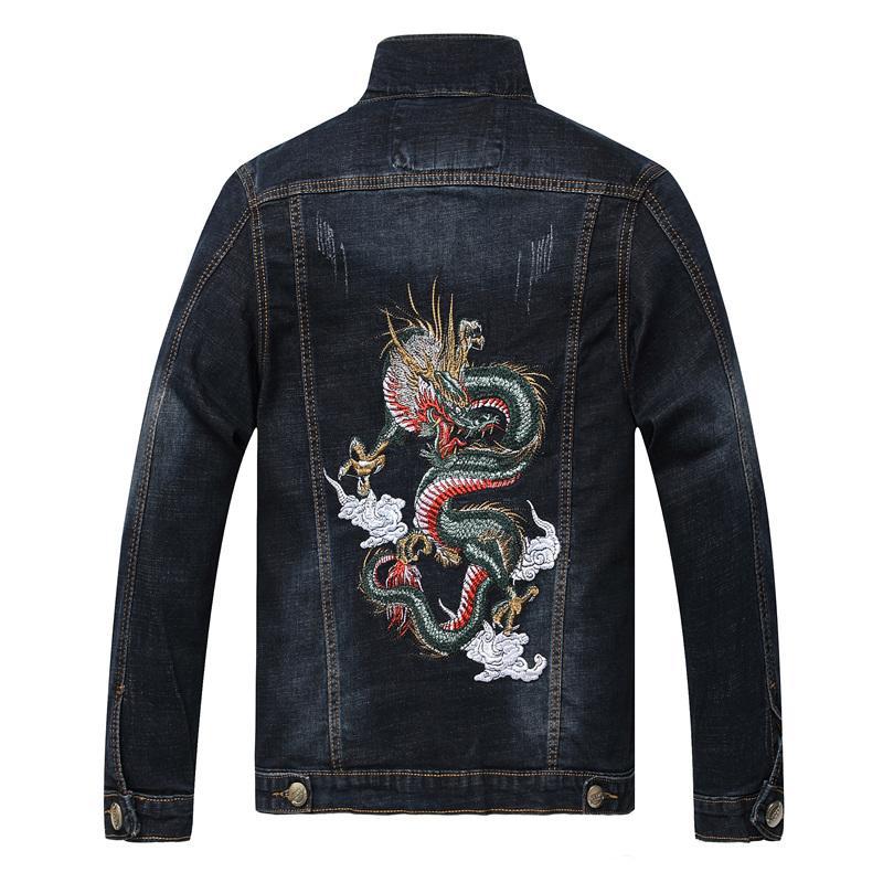 Cina marchio di moda primavera e in autunno i jeans di tendenza rivestimento sottile Dragon Tiger maschile personalizzato vestiti ricamati