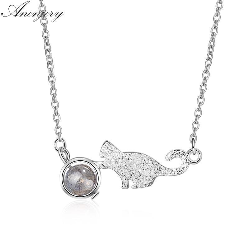 Цепи Anenjery Cut Cat Натуральная клубника Кристалл Лунный камень Ожерелье Для Женщин Девушка Серебро Цвет Ювелирные Изделия S-N255