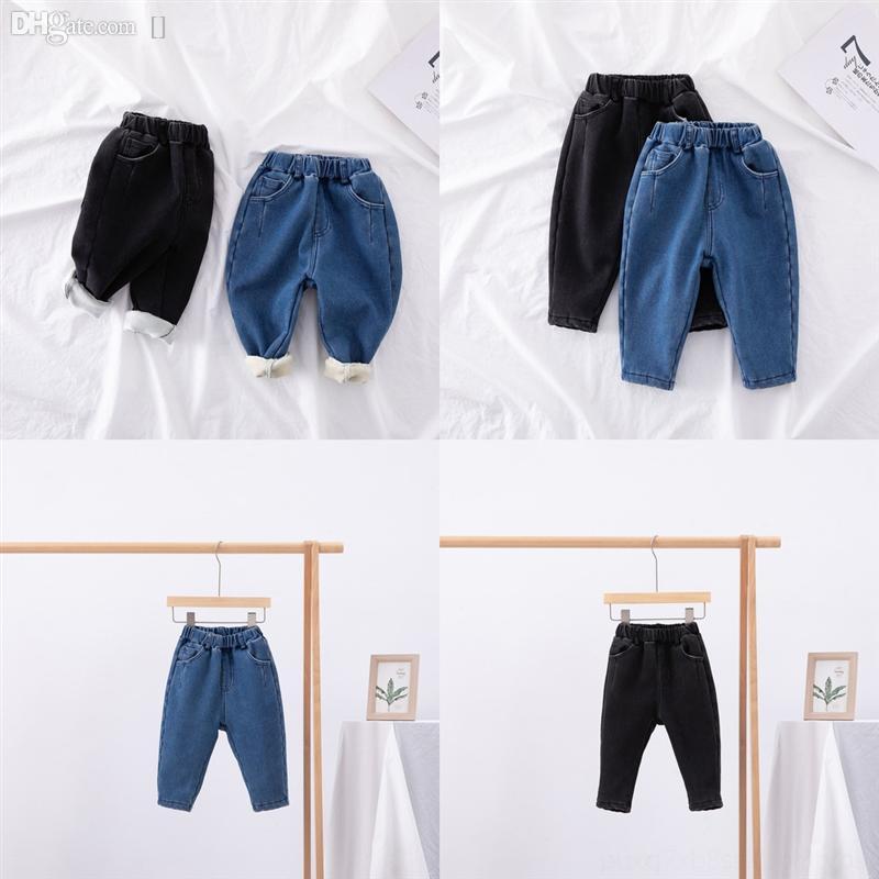 D11qz primavera adolescente crianças novas meninas rasgadas adicionar botão de veludo Manter calças de brim morno outono meninas casuais furos soltos criança engrossar jean denim