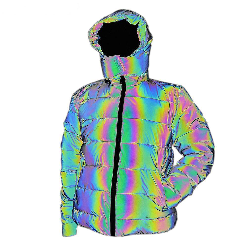 Мужская и женская молодежная красочная светоотражающая зима с капюшоном Parka теплая куртка