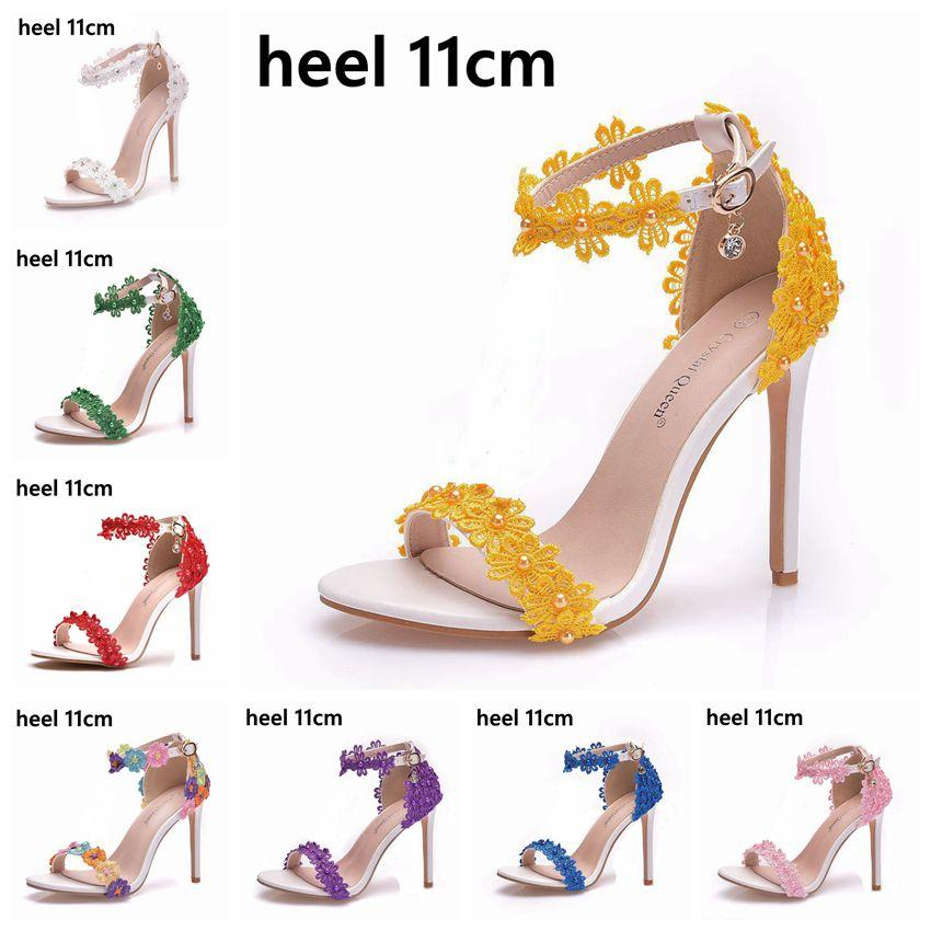 Nuovo arrivo Donne Sandali Sandali Summer Shoes Tacchi alti Pizzo Peep Toes Fibbia Cinturino Donna Scarpe da festa Sandalia bianca