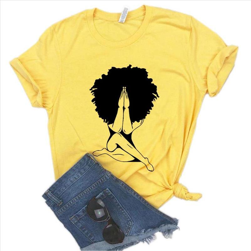 Afro donna preghiera stampa donne tshirt in cotone casual casual maglietta per yong lady girl top tee 6 colori drop ship na