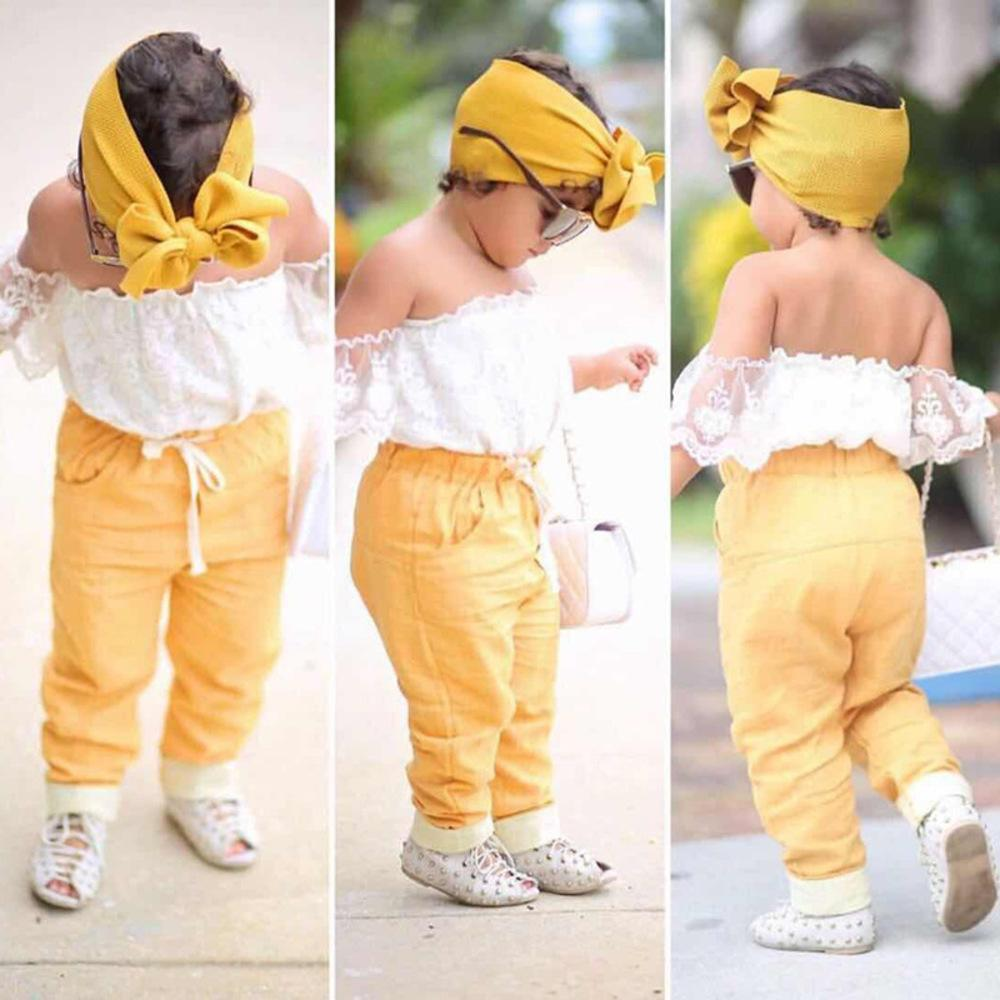 Menina bebê roupas criança sets verão meninas fora do ombro camisa branca + manga curta + calças amarelas + fita para crianças 3 peças de pcs