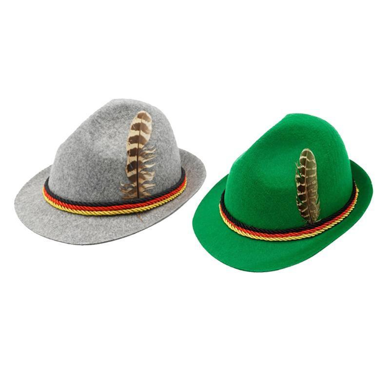 Немецкий Октоберфест Fedora Традиционный Wool Felt костюм Hat с пером для взрослых Новизна Fancy платье панама уборов