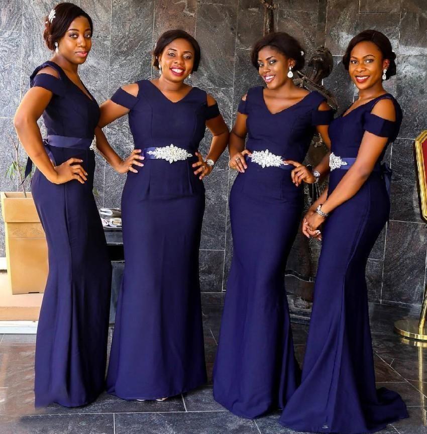2021 뉴 남아프리카 보라색 V 목 캡 슬리브 신부 들러리 드레스 인어는 벨트 벨트 구슬 바닥 길이 하녀 명예 가운