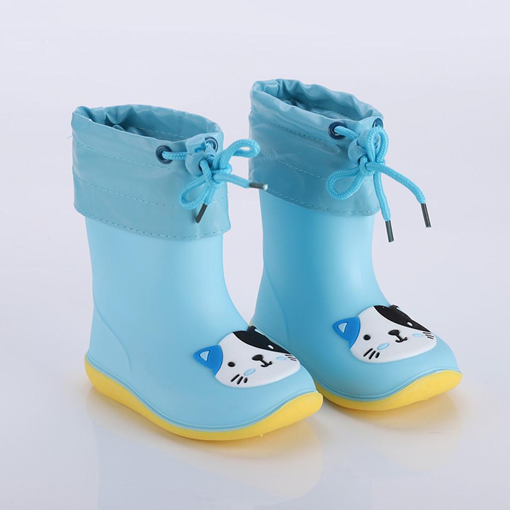 Arloneet Çocuk Kauçuk Çocuklar Su Geçirmez PVC Bebek Kız Sevimli Yağmur Ayakkabı Ayak Bileği Kaymaz Çizmeler Ayakkabı CA12