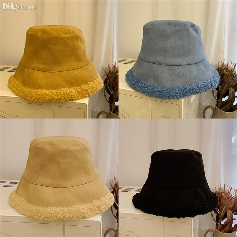 Rdphl осень осенний осенний ягненок плюшевые и зима двухсторонняя шляпа зима женщин рыбалка ретро Панама держать теплые твид ковш шапки шикарные